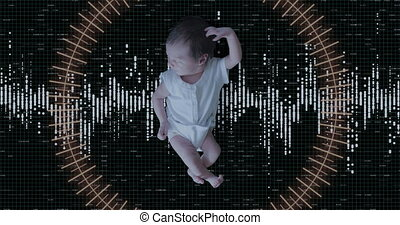 Futursitic Biometric Scan of a Newborn Baby Girl. 4K UHD...