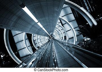 futurystyczny, architecture., tunel, z, ruchomy, sidewalk.