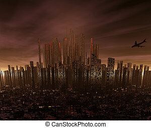 futurystyczny, cityscape
