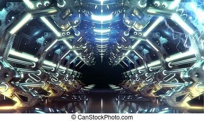 futurystyczny, korytarz, pętla, elektryczny