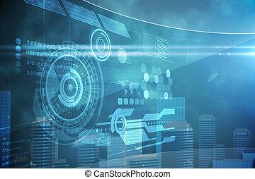 futurystyczny, technologia, interfejs