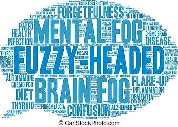Fuzzy-Headed Word Cloud - Fuzzy-Headed word cloud on a white...