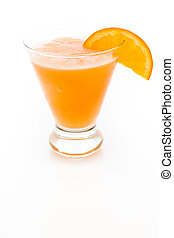Fuzzy Naval - Fuzzy naval cocktail with orange wedge as a...