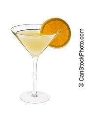 Fuzzy Navel Cocktail - Fuzzy Navel mixed drink with orange...
