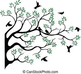 fying, 木, シルエット, 鳥