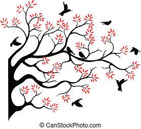 fying, albero, silhouette, uccello