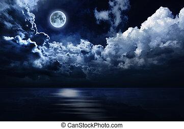 fyllda, över, sky, måne, vatten, natt
