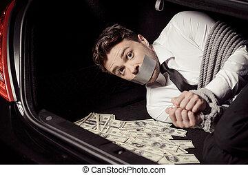 fyllda, bil, uppe, bundet, se, valuta, papper, lögnaktig, ...