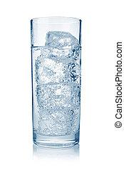 fyllda, glas, av, frisk, kylig, kolsyrad vatten, med, is,...