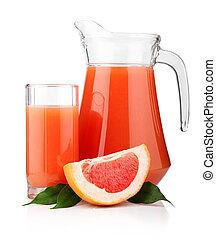 fyllda, glas, och, kanna, av, grapefrukt juice, och,...
