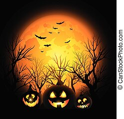 fyllda, halloween, nolla, måne, vektor, jack, bakgrund, lykta