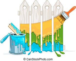 fyllda, staket, färga, hink, målarfärg borsta, underhåll, vit, målning, roller