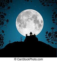 fyllda, träd, måne, vektor, illustration, slott