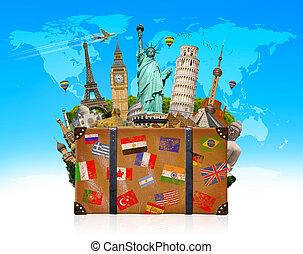 fyllda, väska, resa, berömd, monument, värld