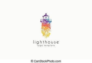 fyr, design., logo., regnbåge, lighthouse.