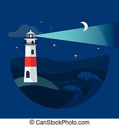 fyr, in, natt, sea., lägenhet, vektor