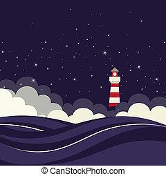 fyr, in, natt, sea.