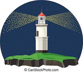 fyr, in, natt, time.vector, illustration