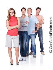 fyra, affärsverksamhet associerar, in, fritidskläder