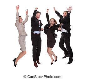 fyra, affärsverksamhet partner, hoppa för glädje