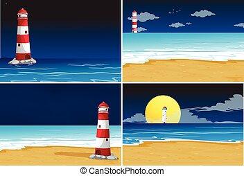 fyra, bakgrund, platser, med, fyr, in, den, ocean