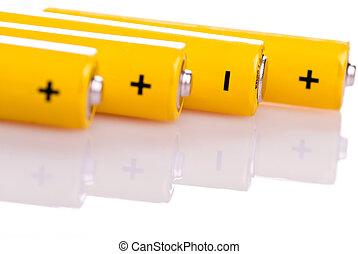 fyra, batterier, gul, lögnaktig