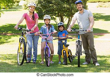 fyra, bicycles, parkera, familj