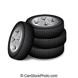 fyra, bil, hjul