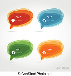 fyra, bubblar, färgrik, pratstund