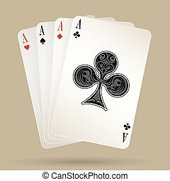 fyra, eldgaffel, vinnande, passa, ess, kort, hand, leka