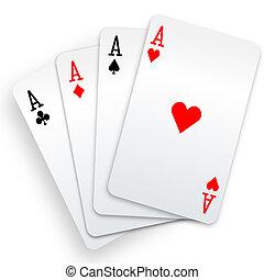 fyra ess, spelande kort, eldgaffel, vinnare, hand