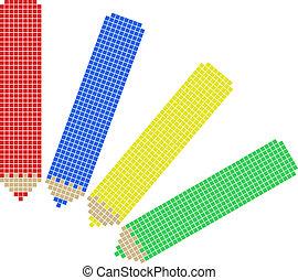 fyra, färg, blyertspenna