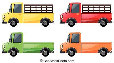 fyra, färger, lastbil, uppe, hacka