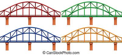 fyra, färgrik, bro