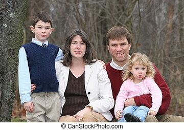 fyra, familj, lycklig