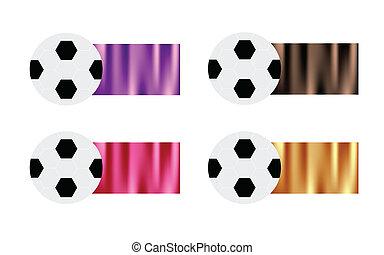 fyra, fotboll kula, med, purpur, brun, rosa, och, guld, flagga