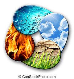 fyra grundämnen, av, natur