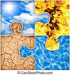 fyra grundämnen, natur, problem, luft, eld, vatten,...