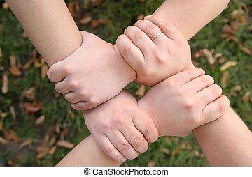 fyra händer, hålla, varandra