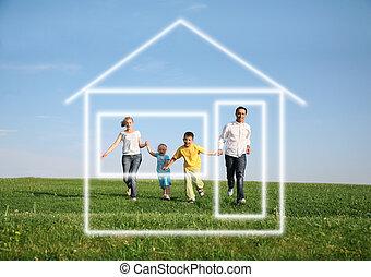 fyra, hus, spring, dröm, familj