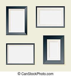 fyra, inramar, rektangulär