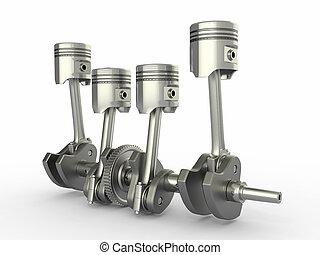fyra, kolvar, cylinder, engine., crankshaft.