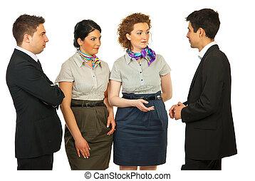 fyra, konversation, affärsfolk