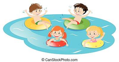 fyra, lurar, slå samman, simning