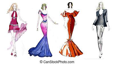 fyra, mode, skissar