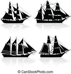 fyra, skepp, vektor, gammal, silhouettes