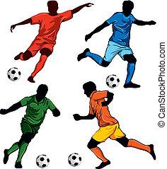 fyra, spelaren, fotboll, sätta