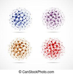 fyra, spheres, molekylar