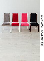 fyra, tom, vit, inre, stol, kontor