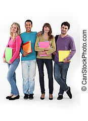 fyra, universitet, deltagare, med, mappar